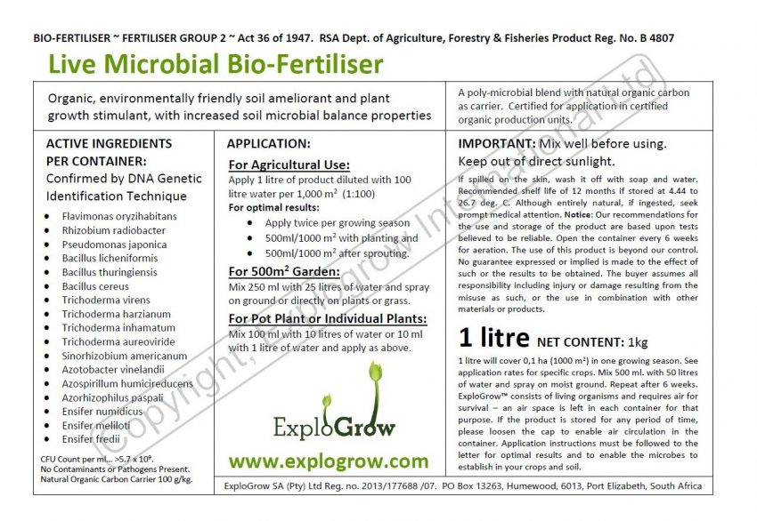 Explo Grow Organic Label Active Ingredients Confirmed By Dna Genetic Identification Technique  Cfu Count Per Ml 5 7 X 10 To The Power Of 9 Copywrite